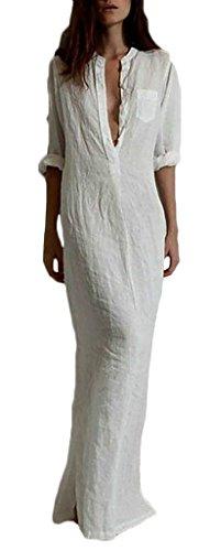 Blusenkleid Damen Elegant Lang Ausschnitt Dreiviertelarm Absicherung Uni-Farben Irregular Geöffnete Gabel Sommer Lässig Maxikleid Kleid Weiß