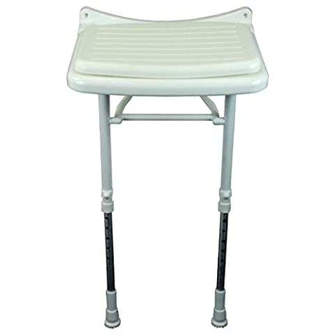 Saracen Padded Seat Wall Mounted Hinged Shower Seat With Adjustable Legs Bath Aid Disability Mobility