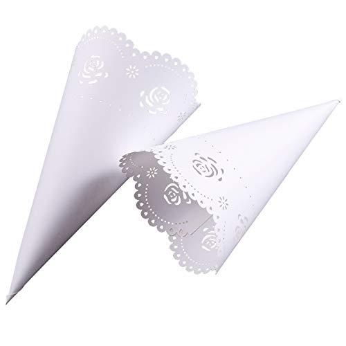 Surepromise matrimonio coriandoli coni laser bouquet candy cioccolato bianco borse feste regali scatole imballaggio, rosa, 50 packs