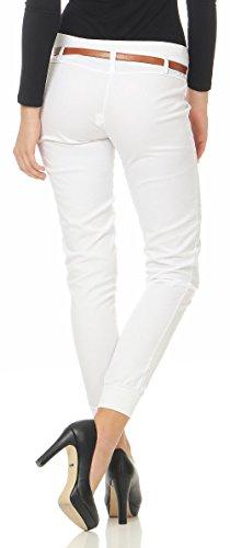 malito Damen Chino Hose inkl. Gürtel   Stoffhose mit Stretch   lässige Freizeithose   Skinny �?elegant 5396 Weiß