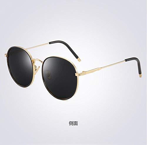 PPOEEWF Polarisierte Sonnenbrille, Neue koreanische runde Fassung, Damen, polarisierte Sonnenbrille, UV-Schutz, Damenbrille, Brille @ a2