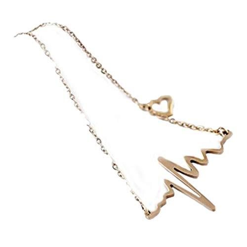 Dorical EKG Kette Damen, Necklace Chain Halskette Anhänger Choker Halsbänder Für Frauen Mode Choker Kragen Halskette Valentine's Day Geschenke Elegante Kette Sale(Gold)