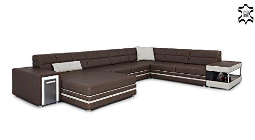 Braunes Ledersofa Wohnlandschaft U-Form Leder XXL Sofa Couch Ledercouch Designsofa Ecksofa mit LED-Licht Beleuchtung MARCO