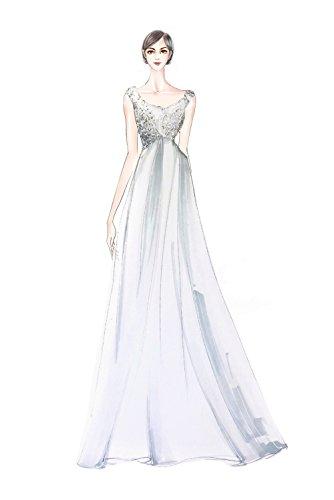 Milano Bride Elegant V-Ausschnitt Spitze Chiffon Hochzeitskleider Brautkleider Brautmode Damen Festkleider Rueckenfrei Mintegruen
