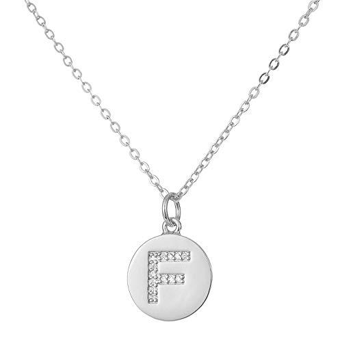 NSXLSCL Halsketten Für Frauen,Zirkon Englisch Schreiben Erste Anhänger Halsketten Silber Buchstabe F Kette Collier Halskette Für Frauen Schmuck (Wie Schreiben Romantik)
