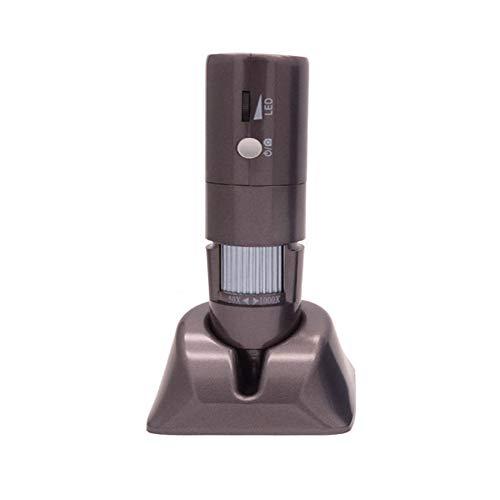 Qys Microscopio Digitale WiFi HD Portatile palmare con Lente d'Ingrandimento Elettronica 1000x con Supporto,Gray