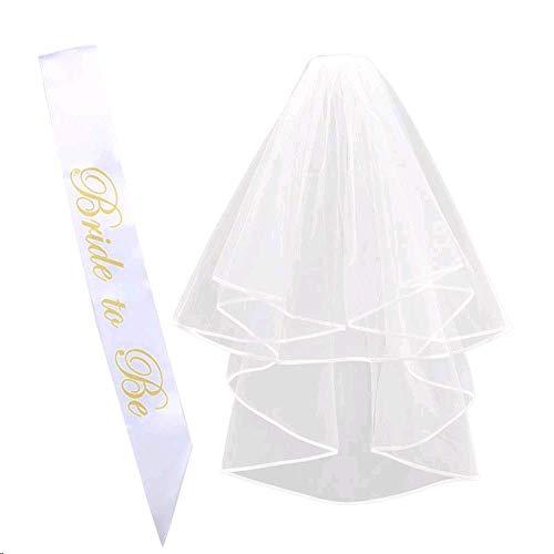 Velo novia boda blanco LULUNA 2pcs bride to be velo