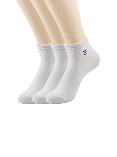 Zando da uomo Casual Atletica cotone no show barca calzini 3 Pairs White Taglia Unica: 24 cm- 27 cm(Misura scarpa: 42-46)