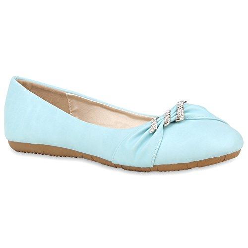Klassische Flache Bequeme Damen Strass Ballerinas Flats Übergrößen Hellblau Verzierung
