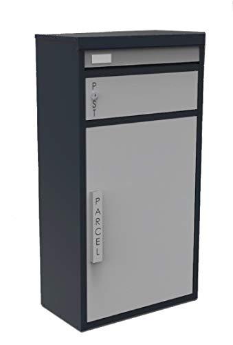 Safepost 65 TIAMAT Paketbriefkasten - mit Paketfach - Standbriefkasten - Exklusivmodell (anthrazit/silber mit 2 Schlüssel)