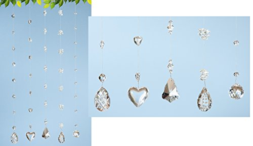 1 x Kristallgirlande Kugel Glas m. Ornamenten u. Metallband Höhe 60 cm, Fensterhänger (Kugel Glas Ornamente)