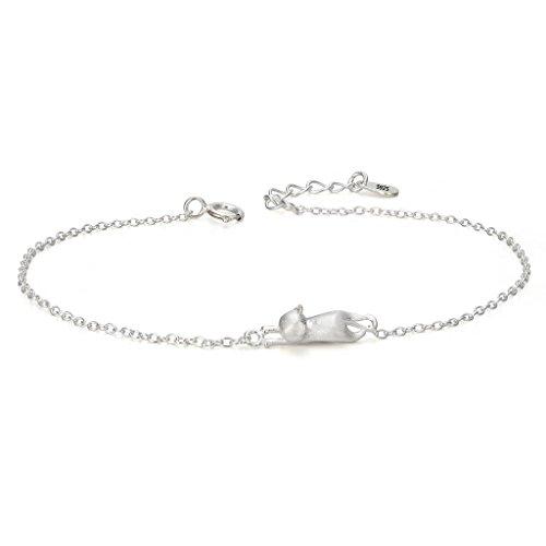 EVER FAITH® Damen 925 Sterling Silber einfach süß Kitten Katze Tier Daily Armband Armkette Kette (Sterling Silber Katze Armband)