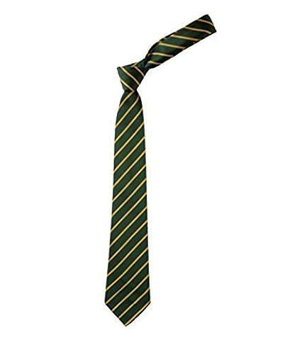 Unicol Thin Stripe School Uniform Hen Party Fancy Dress Disco Tie Green/gold