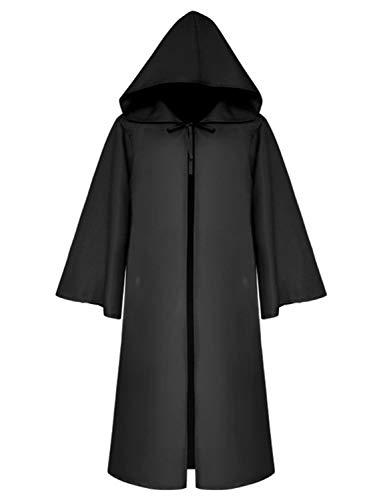 Umhang mit Kapuze Herren Mittelalter Kleidung Mantel Gotik Ritter Cape Lange Robe Halloween Kostüme Unisex Cosplay Hexe Vampir (M, Schwarz) (Gotik Kostüm)