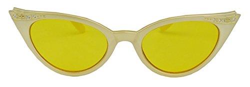 50er Jahre Damen Sonnenbrille Cat Eye Rockabilly Strass Modell Glitzersteine KK VR (Vanilla/Gelb)