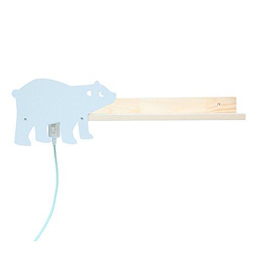 Julica Wandregal Kinderzimmer mit Lampe | Holz natur | Eisbär Motiv in grau | Bücherregal für Jungen & Mädchen | 60 cm breit (Jungen Bücherregal)