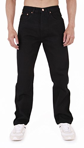 MENS AZTEC BASIC STRAIGHT LEG REGULAR FIT JEANS by AZTEC JEANS 44 Regular Black