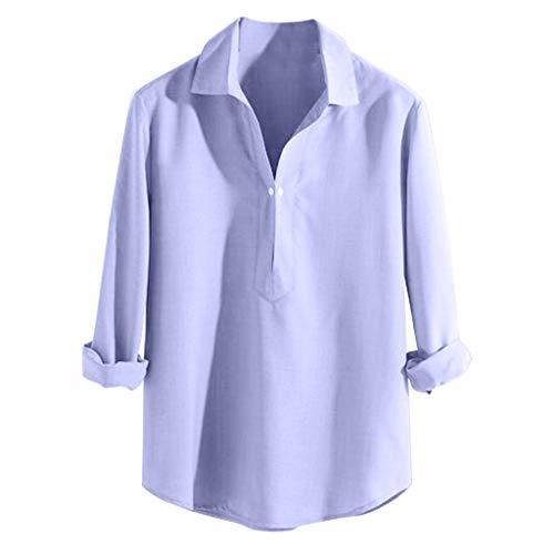 Tyoby Herren Langarmshirts Mode Saum Lose Kragen Basic,Einfach,Bequem,Langlebig Hemden(Blau,S)
