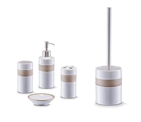 Bad Accessoire Set 5-teilig Keramik Design beige-braun weiss Badezimmer Seifenspender WC-Bürste Zahnpflege
