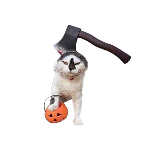 RENS Halloween-Haustier-Kopfbedeckungs-Hut, Lustige Heikle Requisiten Kleiden Oben Für Hundekatze U. Erwachsene, Furchtsame Realistische Blutige Scheren, Axt, Säge - Gesicht Gemalt Kostüm