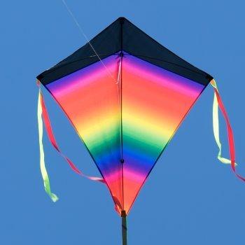 Großer Kinderdrachen - SUPER-DRACHEN Rainbow Eddy XL - Einleiner Flugdrachen für Kinder ab 6 Jahren - 90x98cm - inklusiv 80m Drachenschnur und Streifenschwänze