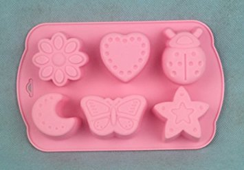 DGI MART DIY Muffin & Cupcake Pans Molds 6-cavities Cute Lovely Insects Butterfly Moon Star Shape Ice Cube Mold Tray(Send by Random Colour) by DGI MART Butterfly Cupcake Pan