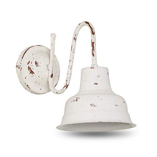 Loberon Wandlampe Sidney, Eisen, H/B/T 30/20 / 28 cm, antikweiß, E14, max. 25 Watt, A++ bis E