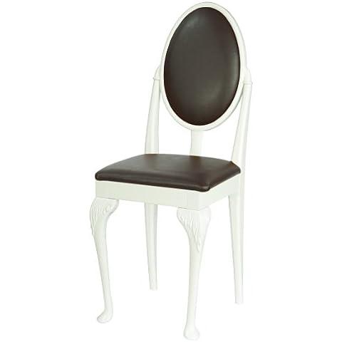High Street Design Set Di Sei Sedie sala da pranzo con gambe Queen Anne bianca e cuscini in pelle sintetica marrone scuro