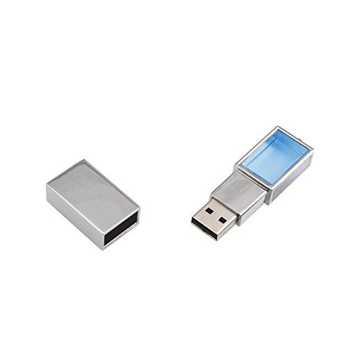 Uflatek USB-Sticks 64 GB Metall Deckel Memory Drive Kristall USB-Flash-Laufwerk Tragbar Silber Rahmen U Disk mit Schlüsselanhänger - Blau