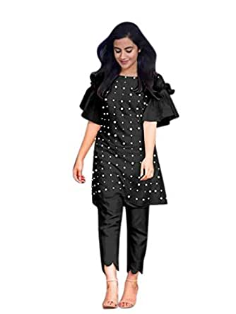 FEXEL Women's PC Cotton Full Stitch Kurti Top with Bottom (Black, Small)