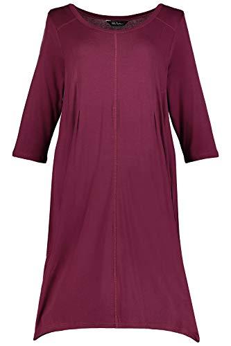 Ulla Popken Damen große Größen bis 62+ | Homewear-Kleid | Jersey | Zipfelsaum | 3/4-Ärmel | weinrot 54/56 717993 53-54+