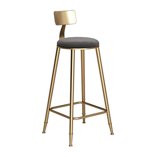 RTY-STOOL Barhocker Stuhl Fußstütze mit Rückenlehne Hochhocker Gepolsterte Esszimmerstühle als Hocker für die Küche | Kneipe Frühstückstisch | Metallbeine | Max Last 150kg grauen Sitz (größe : 60cm)