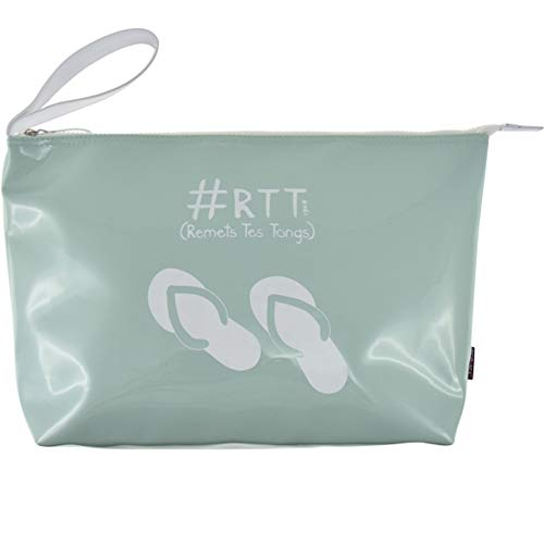 Incidence Paris 61962 Trousse de toilette Colorama RTT Remets tes tongs Vert amande Vinyle Anse de transport Fermeture zip Poche intérieure, 37 cm, Vert