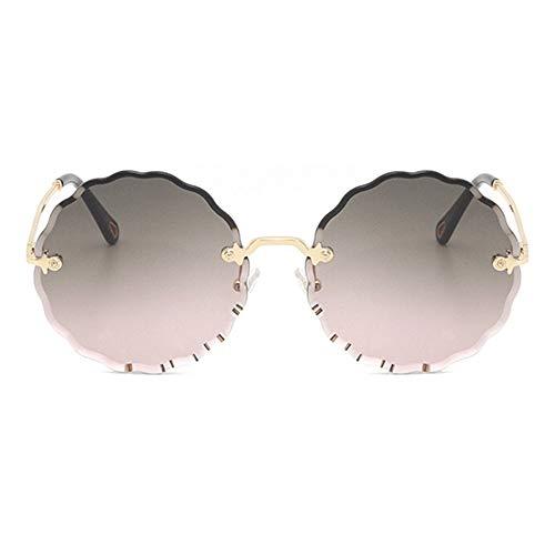 HYH Runde Fashion Flower Sonnenbrille Ohne Rand Brille UV400 Schutz Unisex Gold Frame Schönes Leben (Farbe : Gray) (Fashion Brille Reader)