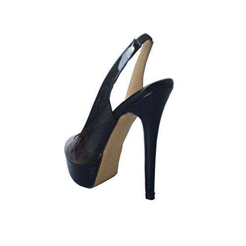 ENMAYER Femmes Fashion Sandale Cuirs Peep Tour Toe Stiletto Super Talons de Chaussures Plate Forme Datant de Sandales Sexy de Boîte de Nuit Léopard Noir