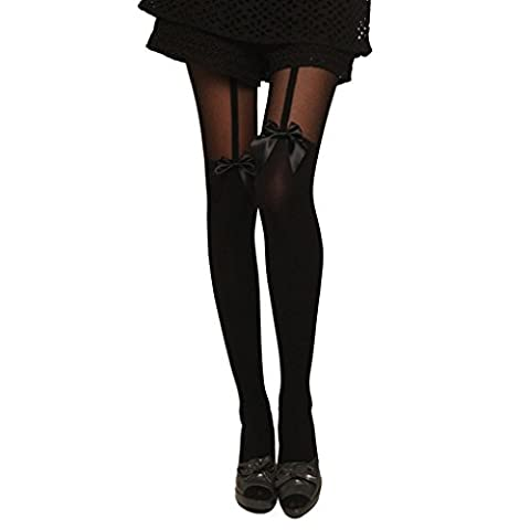 QHGstore Garter Belt Bow Sexy Lace Pantyhose Suspend Sheer Socks Stockings Bow