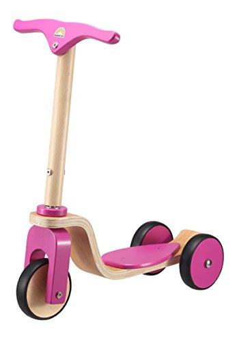 BIKESTAR Kinder Scooter Tretroller für natürliche Spielfreude ab 3 Jahre ★ Natur Holz Edition ★ Bezaubernd Berry