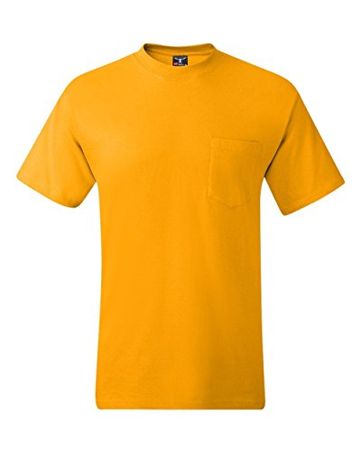 Hanes Short Sleeve Beefy Pocket Tee Small Gold - gold (Hanes-pocket-tees)