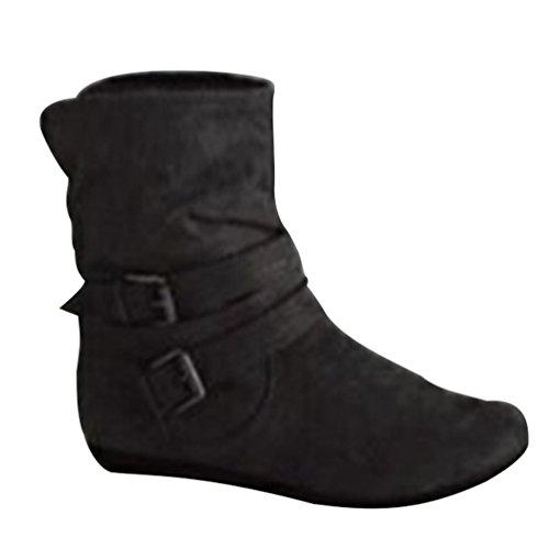 Zkoo donna scamosciata stivali da neve caloroso foderato piatto basse stivaletti con fibbia cintura autunno e inverno nero