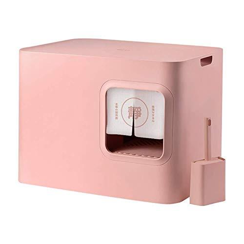 Geschlossen Katzentoilette, Große Platz Leakproof Deodorant Klokiste mit Katzentoilette Schaufel und Vorhang, Rosa ccgdgft (Color : Pink)