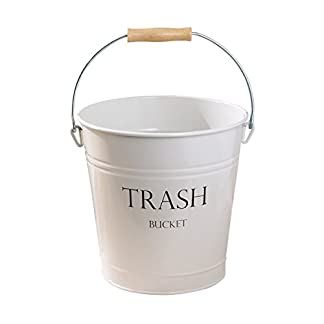 mDesign Cubo de metal estilo vintage – Muy decorativo e idóneo como cubo de basura para cocina, papelera de baño o contenedor de reciclaje en la oficina – 12,5 Litros – Blanco