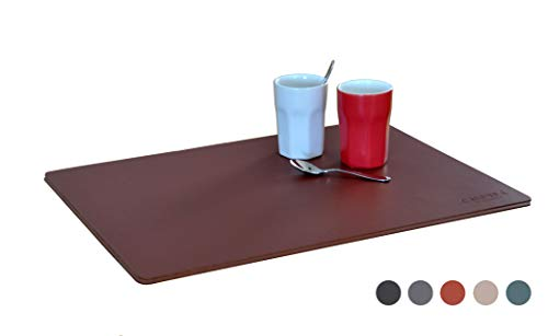 CALUTEA Moderne Designer Tischsets/Hochwertige Echtleder Platzsets / 2er-Set/Ziegelrot - Ziegelrot Leder