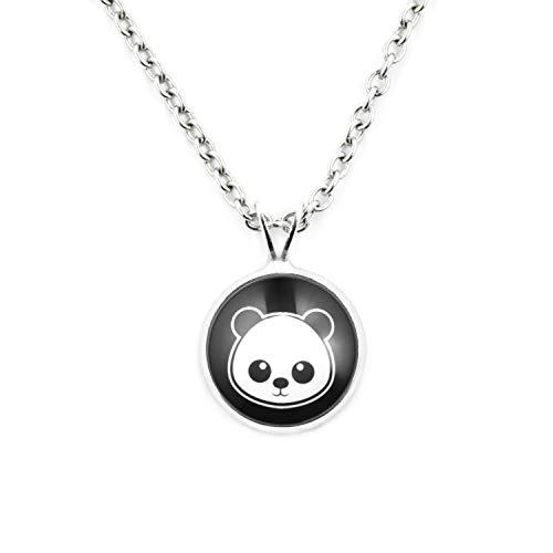 Panda Womens Kostüm Bär - SCHMUCKZUCKER Damen Kette mit Anhänger Motiv Panda Edelstahl Silber-Farben Schwarz Weiss Kleiner Anhänger (14mm) - Kurze Kette (45cm)
