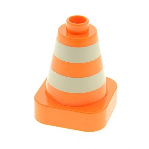 1 x Lego Duplo Pylone orange weiß gestreift Verkehrs Hütchen Kegel Absperrung Leitkegel Baustelle Polizei 47408px1