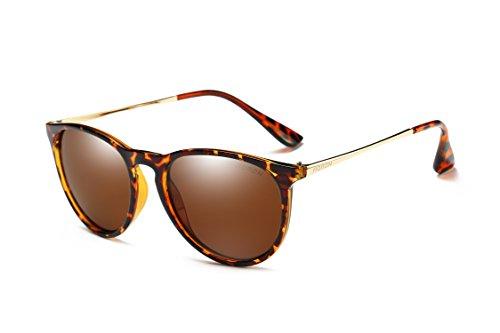 Mondpalast MPTECK @ Gafas de Sol Mujer Polarizadas clásico polarizado UV 400 Protección Marrón Té con Leopardo Marco de Metal Gafas de Sol con el Caso Estuche y pañuelo
