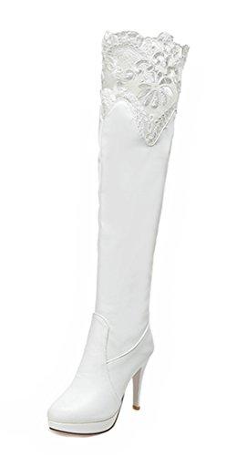 YE Damen Winter Warm Gefüttert Spitze Stretch Overknee Stiefel mit 10cm Absatz High Heels Plateau Stiletto Elegant Fashion Boots