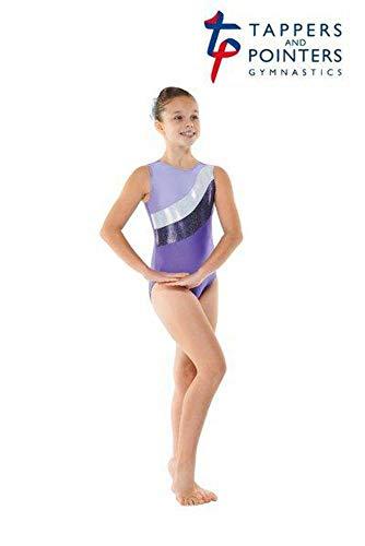 Mädchen Gymnastik Trikot - Lycra, ärmellos mit flie streifen GYM18 - Lila, 9-10 years -