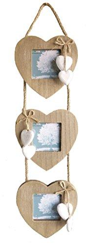 Ensemble de 3 cadres en bois en forme de cœur reliés par de la corde avec cœurs blancs décoratifs