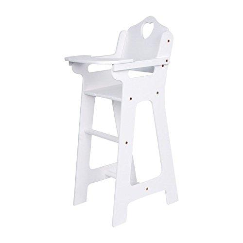 Puppenhochstuhl aus weiß lackiertem Holz, wunderschönes Puppenzubehör / Spielzeugmöbel im nostalgischen Design mit Herzausschnitt in der Rückenlehne, mit klappbarem Tischchen, ab 3 Jahre Rückenlehne Schuhe