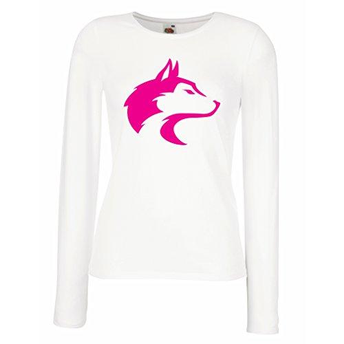 Weibliche Langen Ärmeln T-Shirt der Ruf des Wilden Wolfes - Coole Grafik mit geistigem Gefühl (X-Large Weiß Magenta)